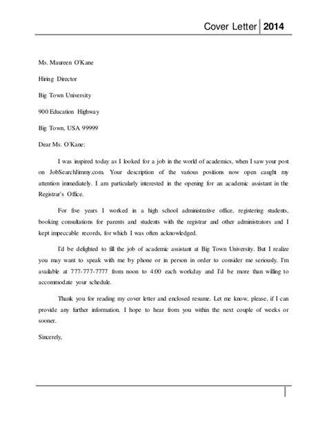 Assistant Registrar Cover Letter by Cover Letter 2