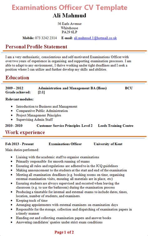 examinations officer cv