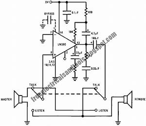 Electro Diagram  Intercom Circuit Using Lm390