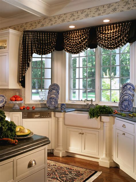 Large Kitchen Window Treatment Ideas by The Ideas Of Kitchen Bay Window Treatments Theydesign