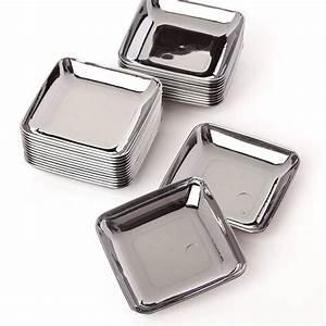 Small Silver Plastic Appetizer Plates - Kitchen Utensils