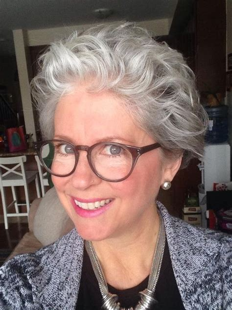 soft curly hairstyle  older women  glasses short