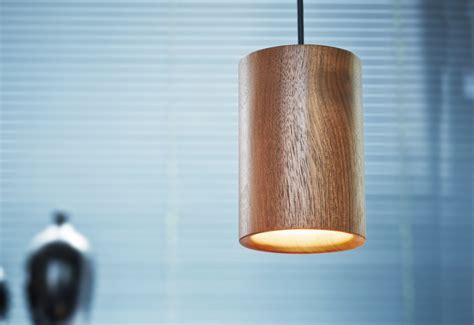 Solid Cylinder wood pendant designed by Terence Woodgate