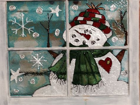 hometalk snowman painted  stain glass paint   window