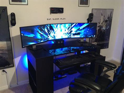 whalen axia computer desk awesome 2013 pc gaming setup 5760 x 1080 3 monitors w