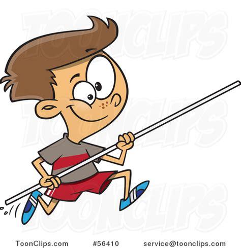 cartoon track  field brunette white pole vault boy
