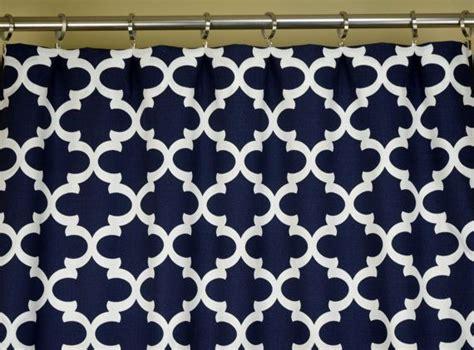 navy blue white quatrefoil lattice fynn curtains rod