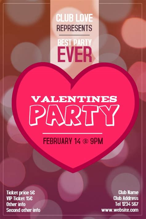 valentines day party poster template idea click