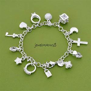 Silver Charm Bracelet, Cross, Ring, Star, Key, Moon, Lock ...