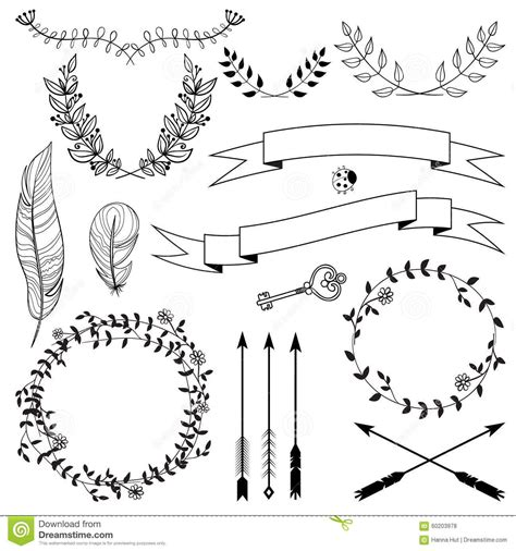 hand drawn vintage arrows feathers  ribbons