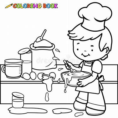 Mess Cooking Boy Coloring Making Outline Kitchen