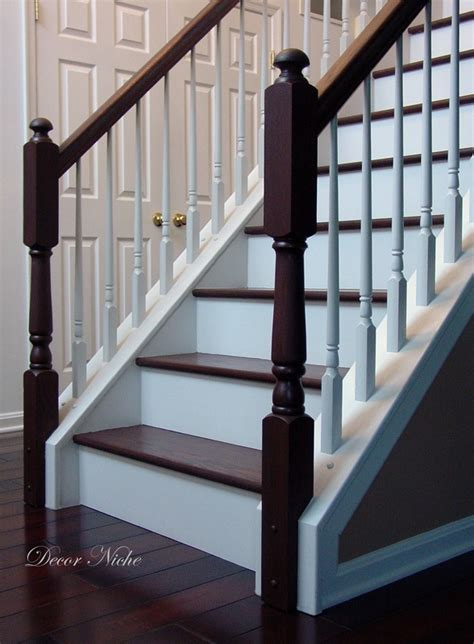 refinish banister stain color for foyer stairs and i would be