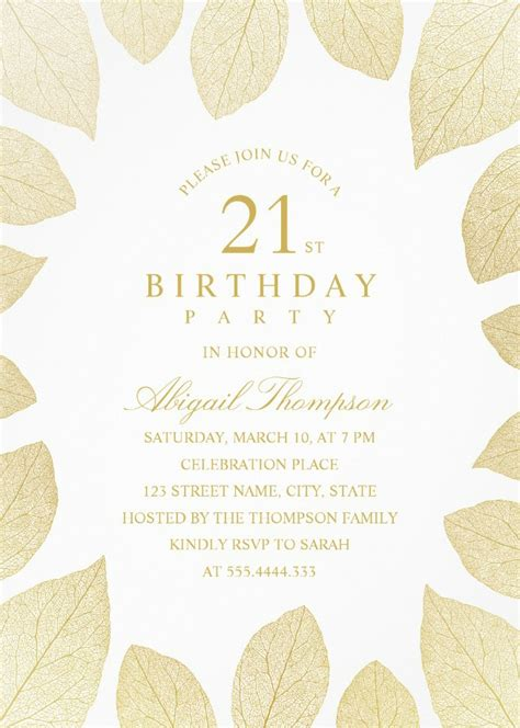 Unique Gold Leaves 21st Birthday Invitations Elegant