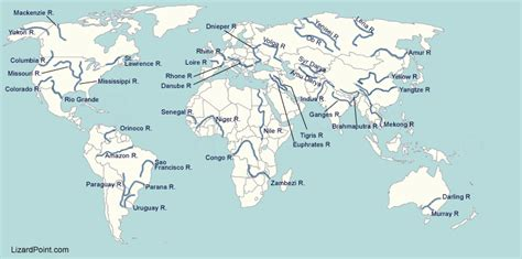 rivers world map  travel information