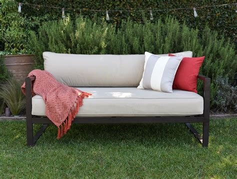 outdoor settee cushions serta at home outdoor sofa with cushions
