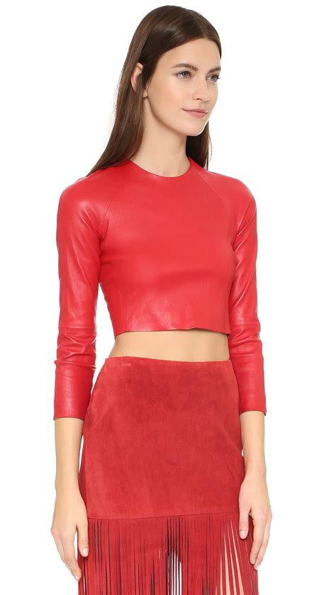 Lyst  Theperfext Bronx Leather Crop Top In Red