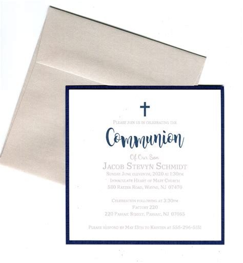 First Holy Communion Invitation Boy Navy Christening
