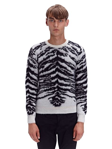 mens patterned sweaters lyst laurent mens jacquard tiger crew neck sweater