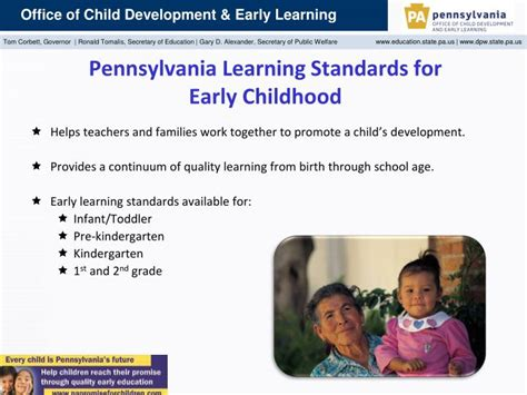 ppt office of child development and early learning 925 | pennsylvania learning standards for early childhood n