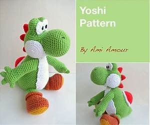 yoshi pattern amigurumi crochet pdf by amiamour on etsy With yoshi plush template