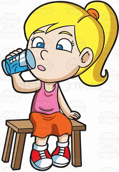 Drinking Water Cartoon Clipart Glass Clip Thirsty