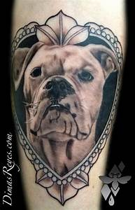 Black and Grey Dog Portrait Frame Tattoo by Dimas Reyes ...