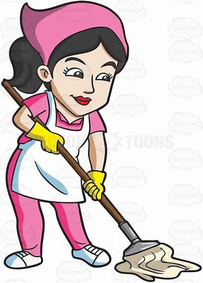 Clipart Floor Cleaning Maid Mopping Cartoon Mop