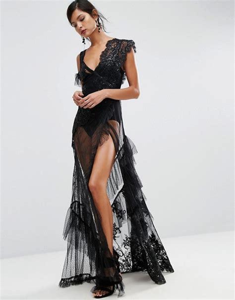 Dress Sabrina Emina Fit Xl asos asos salon robe longue en dentelle 224 motif