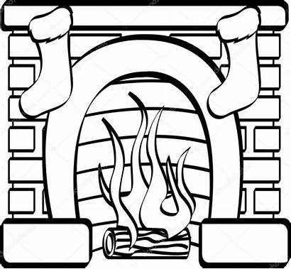 Fireplace Christmas Stockings Drawing Clipart Stencils Stocking