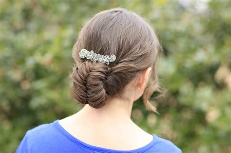 Pretty Updo Hairstyles by Flipped Fishtail Braid Updo Prom Hairstyles