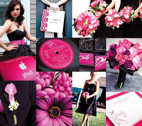 pink and black wedding and party ideas centerpieces table