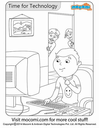 Technology Pages Colouring Coloring Mocomi Printable Cool