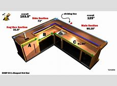 EHBP04 LShaped Wet Bar Easy Home Bar Plans