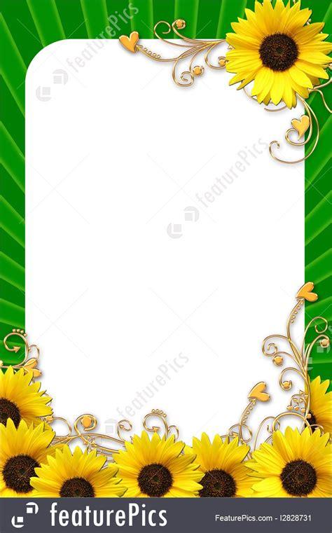 templates flowers frame  yellow sunflower stock