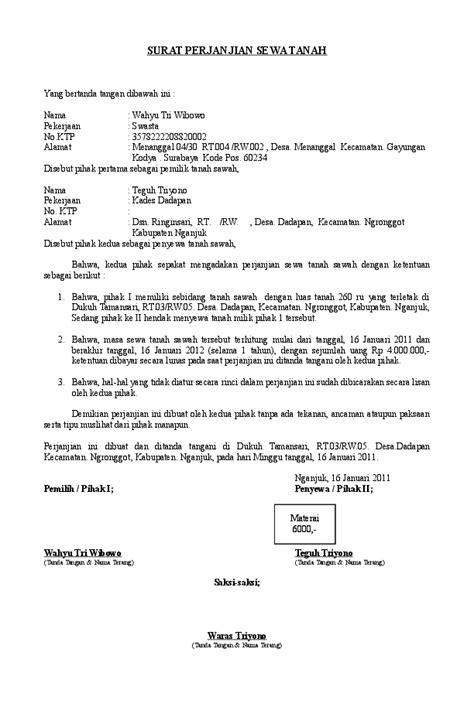 surat perjanjian sewa tanah saksi saksi muhammad