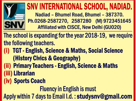 jobs  snv international school nadiad vacancies