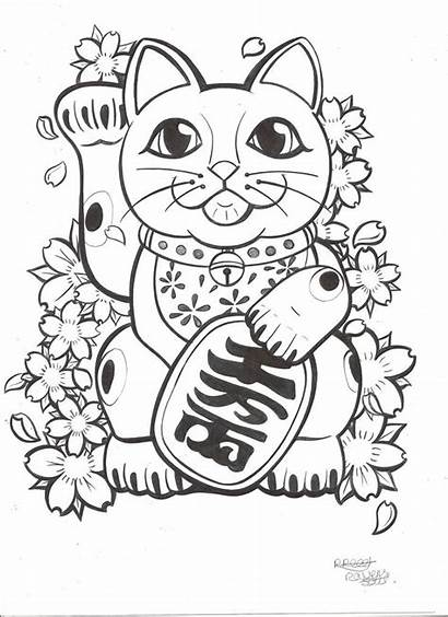 Lucky Cat Tattoo Drawing Neko Maneki Japanese