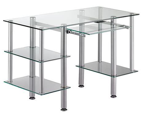 bureaux verre bureau cristal 1 gris argent verre clair