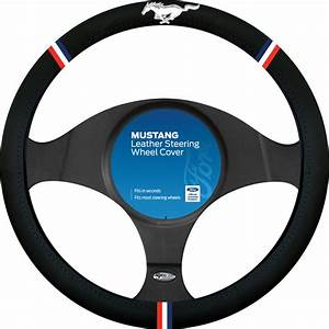 Ford Mustang Steering Wheel Cover - Leather, Black ...