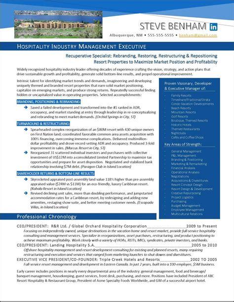 19945 exle of executive resume exle hospitality industry executive resume page 1