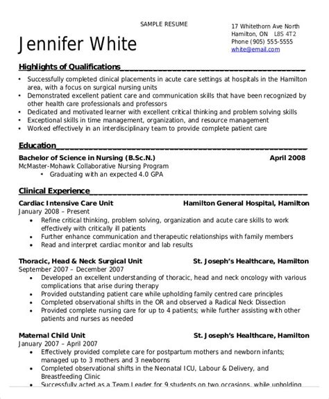 new grad nursing resume clinical experience annotated bibliography apa mcmaster