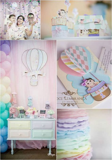 birthday party ideas for popsugar pastel rainbow hot air balloon party via kara 39 s party