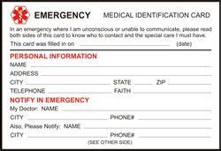 printable medical id cards medical id wallet size