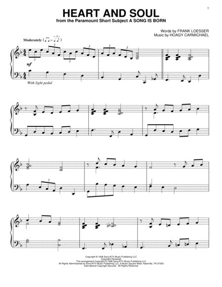Heart and soul piano sheet music. Download Heart And Soul Sheet Music By Hoagy Carmichael ...