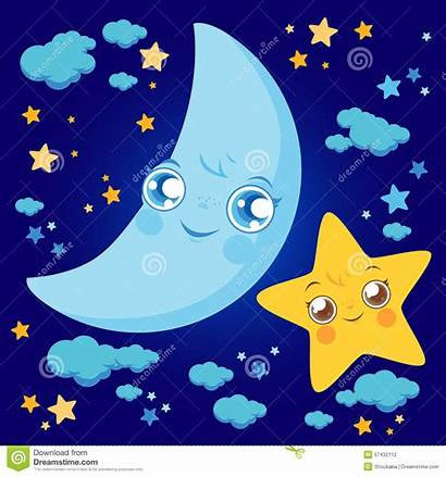 Moon Cartoon Stars Clouds Illustration Sky Night