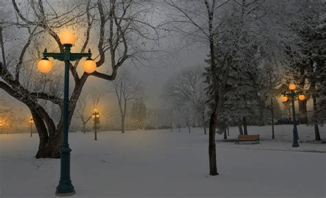 Winter Park At Dusk Full Hd Wallpaper And Background Image