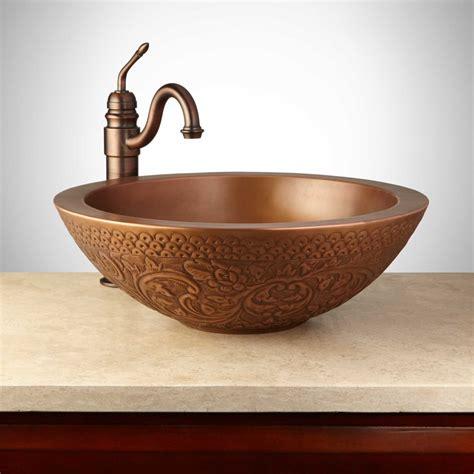 mahala  embossed copper double wall vessel sink