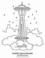 Needle Embroidery Space Seattle Patterns Pattern Easy Simple Pages Skyline Washington Template Stitch Cross Hand Coloring Projects Sketch Paper State sketch template