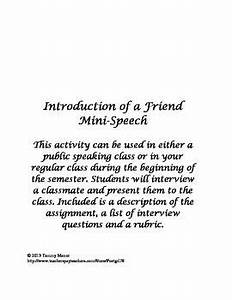 Introduction of a Friend Mini-Speech - good rubric for ...