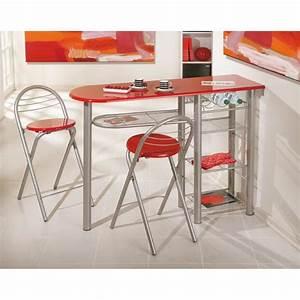 table bar brigitte metal laque rouge meuble de cuisine With table de cuisine etroite